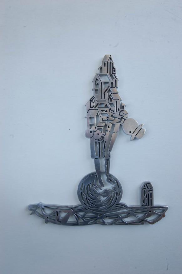 GameChanger, water-gesneden aluminium, beeld, sculpture