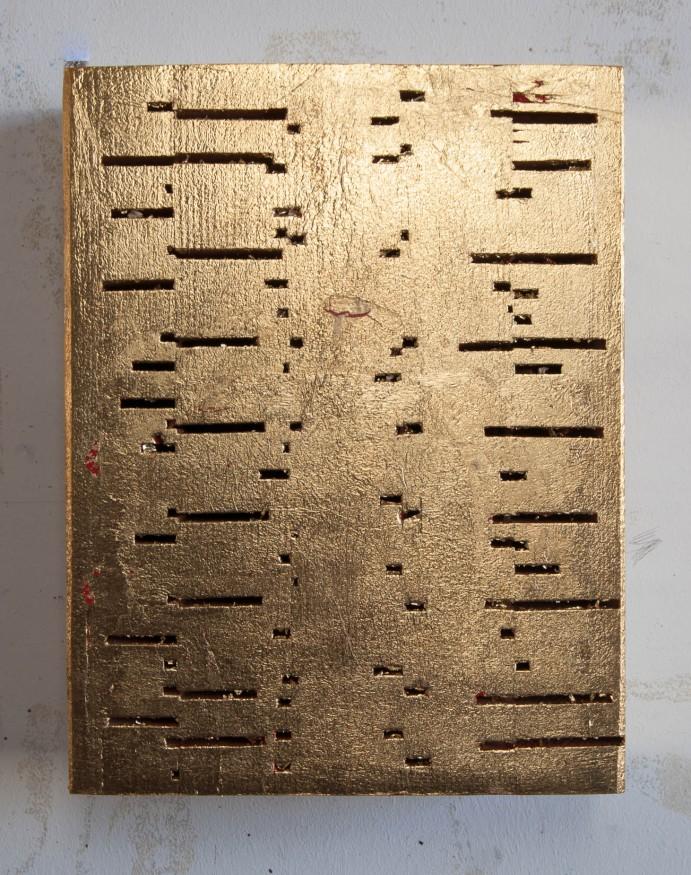 Golden DNA 16x21x7 cm hout,lakverf,bladgoud 2015